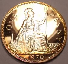 Buy Huge Proof Great Britain 1970 Penny~Last Year Ever Minted~Excellent~Free Ship