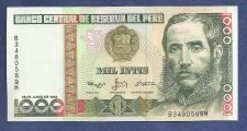 Buy PERU 1000 INTIS 1988 UNC BANKNOTE B3480589M Mariscal Andres Avelina Caceres at Right