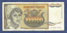 Buy YUGOSLAVIA 100,000 DINARA 1993 BANKNOTE # AB 9917009 Young Woman, Sunflowers