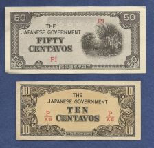 Buy Japan WWII Invasion Two (2) Small Note TYPE SET 50 & 10 Centavos! Historical !!!