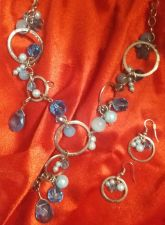Buy NECKLACE, BLUE BEAD WITH MATCHING EAR RINGS -Very Beautiful!