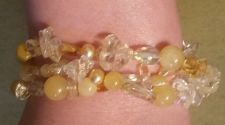 Buy BRACELET, Three Strand Yellow & Clear Bead, ornate, unique & very sophisticated!