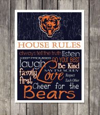 Buy Chicago Bears House Rules 4inch x 4.1/2inch Magnet