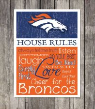 Buy Denver Broncos House Rules 4inch x 4.1/2inch Magnet.