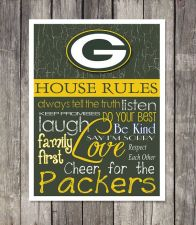Buy Green Bay Packers House Rules 4inch x 4.1/2inch Magnet.
