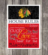 Buy Chicago Blachawks House Rules 4inch x 4.1/2inch Magnet.