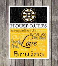 Buy Boston Bruins House Rules 4inch x 4.1/2inch Magnet.