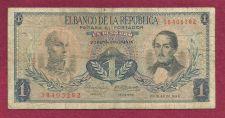 Buy Columbia 1 (Un) Peso Oro 1966 Banknote 38405282 - Rare! -S Bolivar/Gen Santador