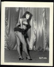 Buy BETTY PAGE BLACK SPANGLED BRA FRILLY SKIRT POSE VINTAGE IRVING KLAW 4X5 BP-133