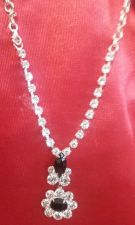 Buy BEAUTIFUL NECKLACE, CUBIC ZIRCONIUM W/BLACK FACETED STONES & MATCHING EAR RINGS!