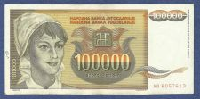 Buy YUGOSLAVIA 100,000 DINARA 1993 BANKNOTE # AB 8057613, Young Woman, Sunflowers