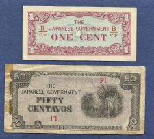 Buy Invasion Money Small Japan Note 1 Cent & 50 Centavo Banknotes-TWO NOTES! WWII Era Cur
