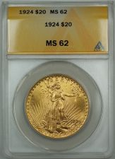 Buy 1924 $20 Dollar Liberty Gold Double Eagle ANACS MS-62