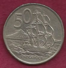 Buy New Zealand 50 Cents 1967 Large Coin - Endeavour Ship - Elizabeth II -Nice Coin!