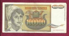 Buy YUGOSLAVIA 100,000 DINARA 1993 BANKNOTE # AB 0840585, Young Woman, Sunflowers