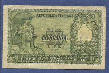 Buy Italy 50 Lire 1951 Banknote #028430 - Helmeted FAVALOSO!