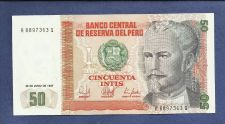 Buy 1987 Central Bank of Peru 50 Intis Banknote A8897363Q - Crisp Note!