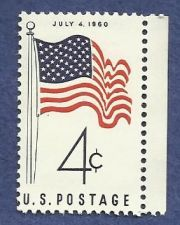 Buy US Stamp - 4 Cents Postage, US Flag, July 4 1960 Stamp - MNH