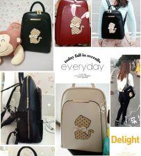 Buy Cute cat PU leather leisure travel backpack school bag
