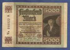 Buy GERMANY 5000 MARK MERCHANT Hans Imhof 1922 WEIMAR REPUBLIC BANKNOTE Va 046822A