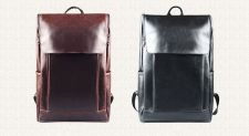 Buy Men's leather high-capacity laptop school bag backpack