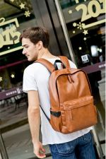 Buy Men's Korean PU leather backpack schoolbag
