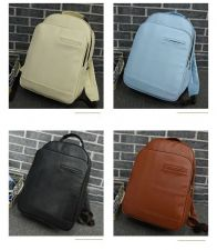 Buy Unisex Korea simple leather large capacity school bag backpack