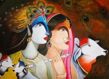 Buy Krishna and Radha - Original Acrylic Painting