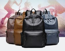 Buy Korean unisex fashion leather backpack school bag