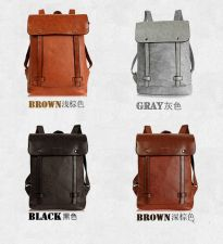 Buy Retro British unisex locomotive artificial leather school bag backpack
