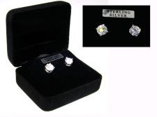 Buy Sterling Silver CZ Studs Earrings in Black Gift Box