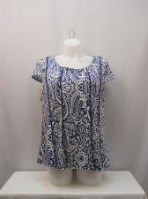 Buy Maria Gabrielle Women's Knit Panel Top Plus Size 3X Navy/Wht Paisley Cap Sleeves
