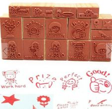 Buy 16 pieces wooden stamp set
