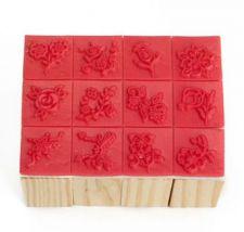 Buy 12 pieces wooden stamp set