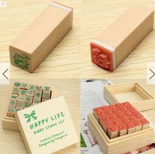 Buy 1 box (25 pcs) wooden stamp set