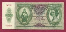 Buy Hungary 10 Pengo 1936 Banknote #053831 -WWII Era Currency -P100 Patrona Hungarie Note