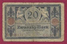 Buy Germany 20 Mark 1915 P63 Banknote #C3100131 - 2 men with cornucopias with money