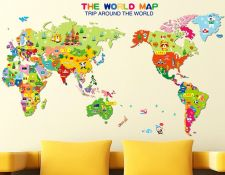 Buy map children home wall sticker