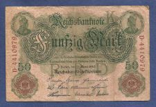 Buy Germany Imperial Reichsbanknote 50 Mark 1910 Banknote #D4410979