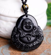Buy black buddha head charm necklace
