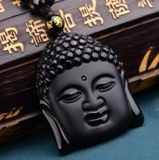 Buy black buddha head necklace