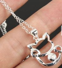 Buy silver plated cat pendant necklace