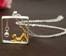 Buy 925 sterling gold/silver plated cat necklace