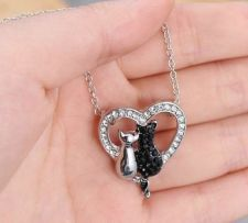 Buy two cats pendant necklace