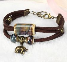 Buy alloy elephant leather bracelet