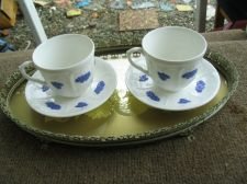 Buy Set Of (2)Cups And (2)Saucer Mid-Century Swedish Gustavsberg Bla Blom(Tea Or Coffee):