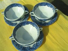 Buy Vintage Enoch Wedgwood Tunstall Soup Cups & Saucers - Set of (3) Bowls & (3) Saucers