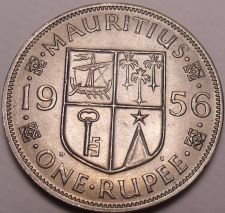Buy Large Gem Unc Mauritius 1956 Rupee~Fantastic~1st Year Ever~Free Shipping