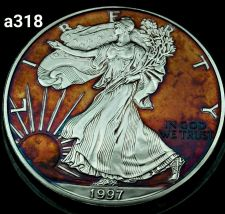Buy 1997 Rainbow Toned Silver American Eagle 1 ounce fine silver uncirculated #a318