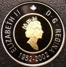 Buy Rare Cameo Silver & Gold Proof Canada 2002 2 Dollars~21,573 Minted~50th Anniv~FS